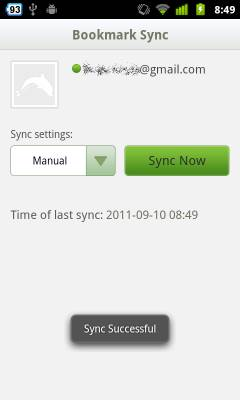 Dolphin Browser HD bookmark sync