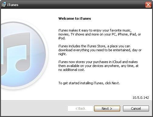 iTunes 10.5 setup