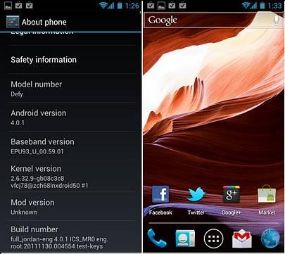 Motorola Defy ICS