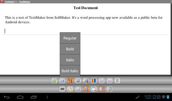 TextMaker beta for Android (SoftMaker Office)