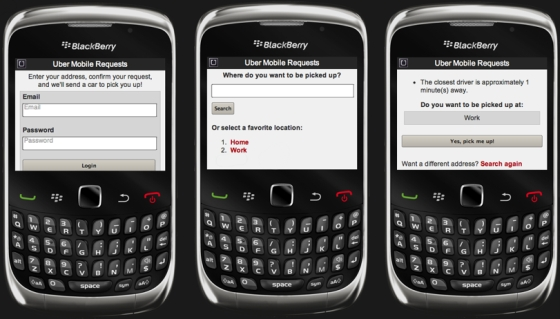Uber mobile website for BlackBerry
