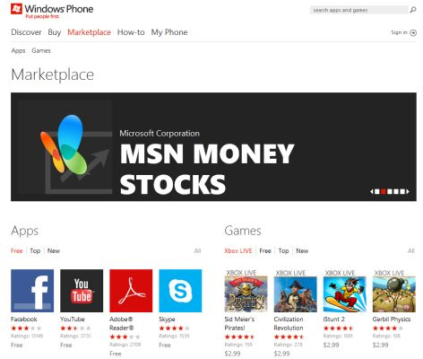 Windows Phone Marketplace