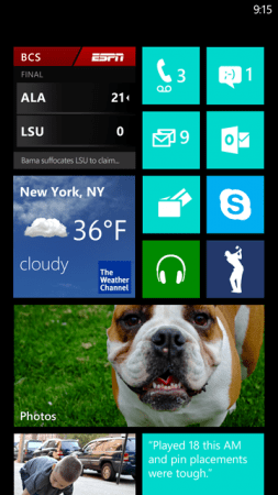 Windows Phone 7.8 Start Screen