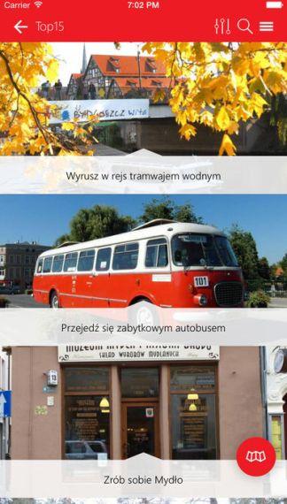 Bydgoszcz - Mobilny Przewodnik (screen aplikacji mobilnej)