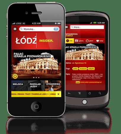 Screen aplikacji Łódź Insider