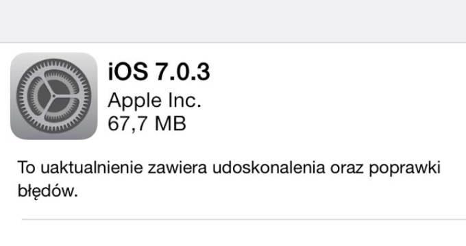 iOS 7.0.3 update