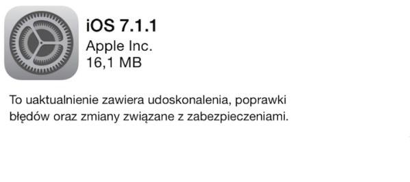 iOS 7.1.1 dostępny do pobrania