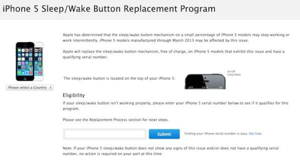 Program wymiany przycisków usypiania/budzenia w iPhone'ach 5