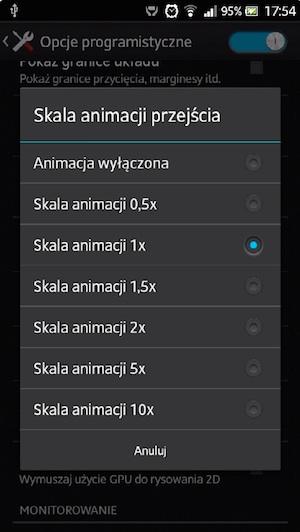 Ustawienia skali animacji