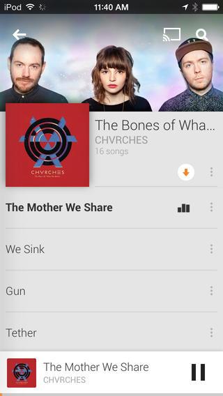 Google Play Music app iOS