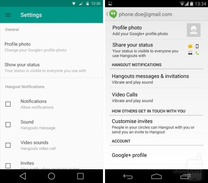 Google Hangouts na Androida
