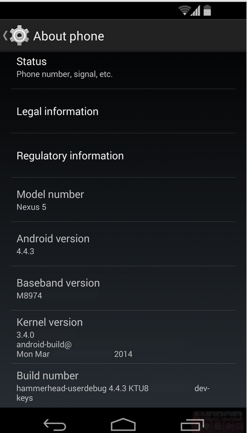 Android 4.4.3 KitKat screen