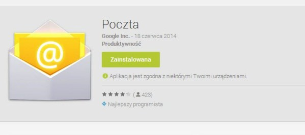 Aplikacja Poczta od Google'a dostępna w sklepie Google Play