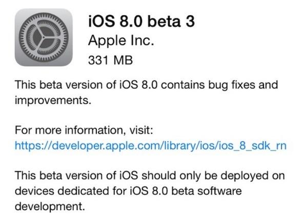 iOS 8 beta 3 już gotowe do pobrania