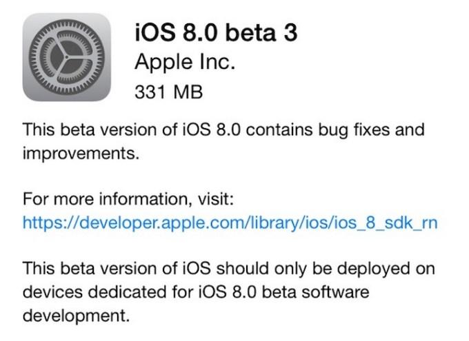 iOS 8 beta 3