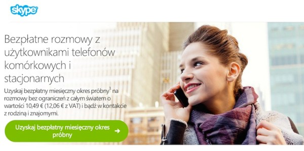 Bezpłatne rozmowy z telefonami w Skype'ie przez miesiąc!