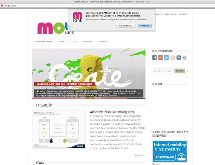 Powiadomienia push na Macu  (Mavericks 10.9) z serwisu mobiRANK.pl