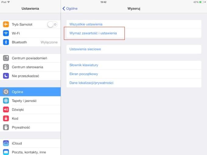 Przywracanie ustawień fabrycznych pod iOS-em