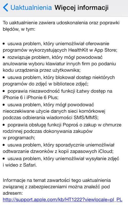 iOS 8.0.1 - lista zmian