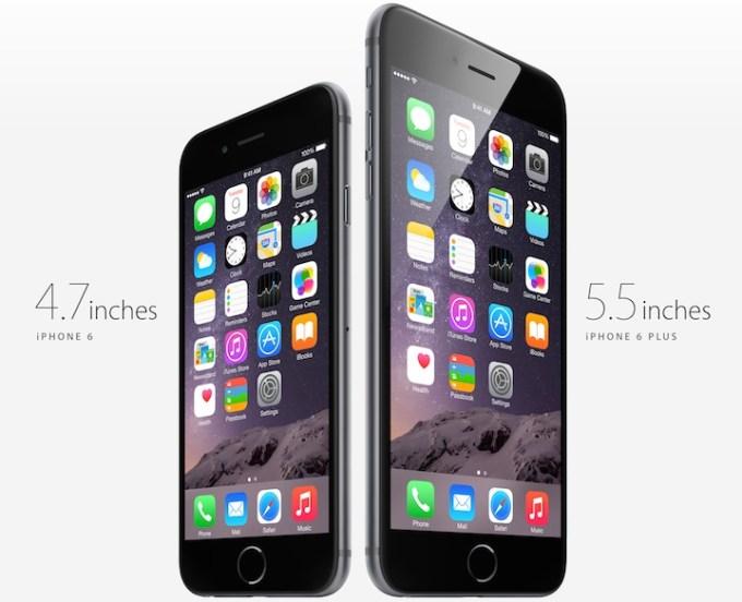 Przekątna ekranów iPhone'a 6 i iPhone'a 6 Plus