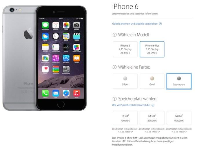 Cena iPhone'a 6 Plus w Niemczech