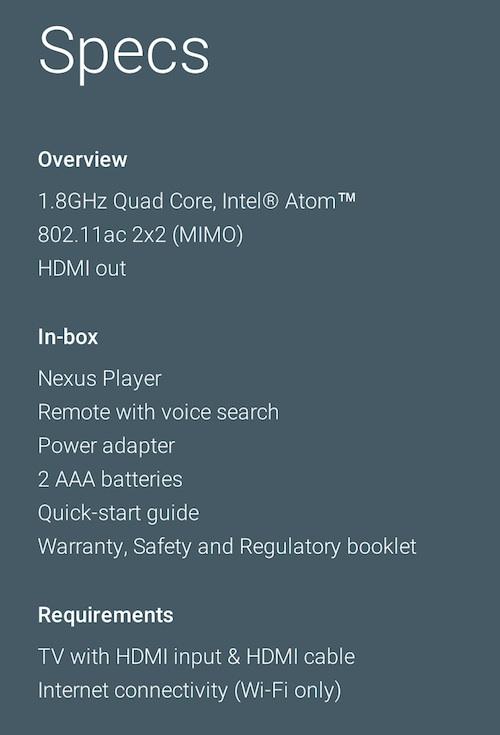 Specyfikacja techniczna Nexusa Playera