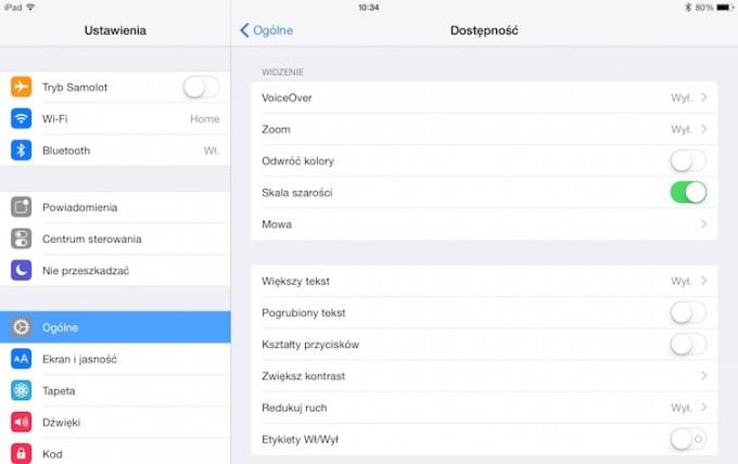 iOS 8 - Skala szarości