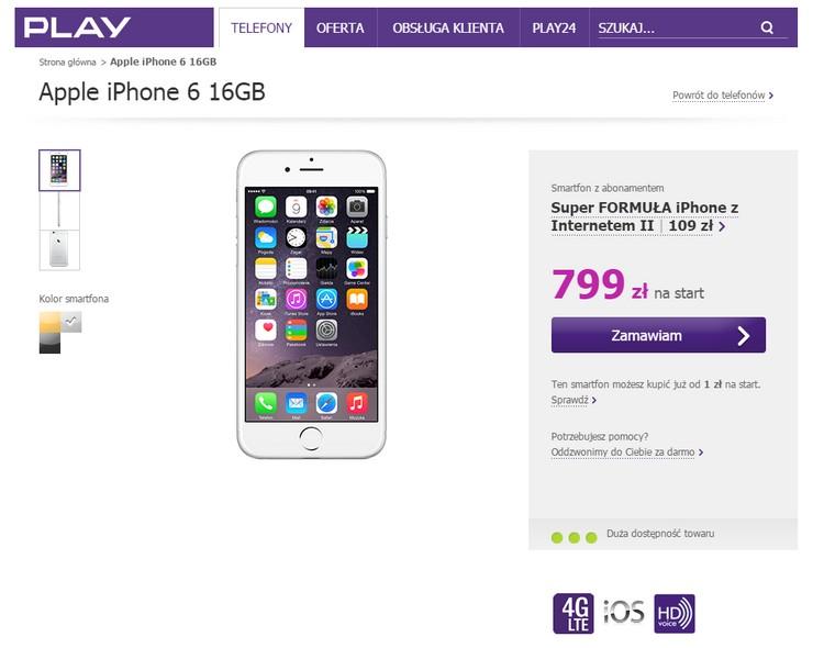Ceny iPhone'a 6 w Playu