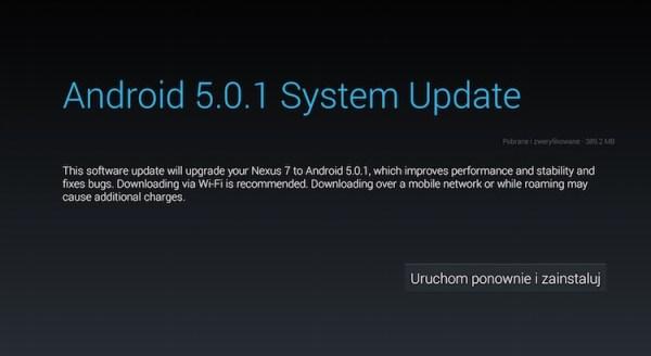 Android 5.0.1 Lollipop w trybie OTA