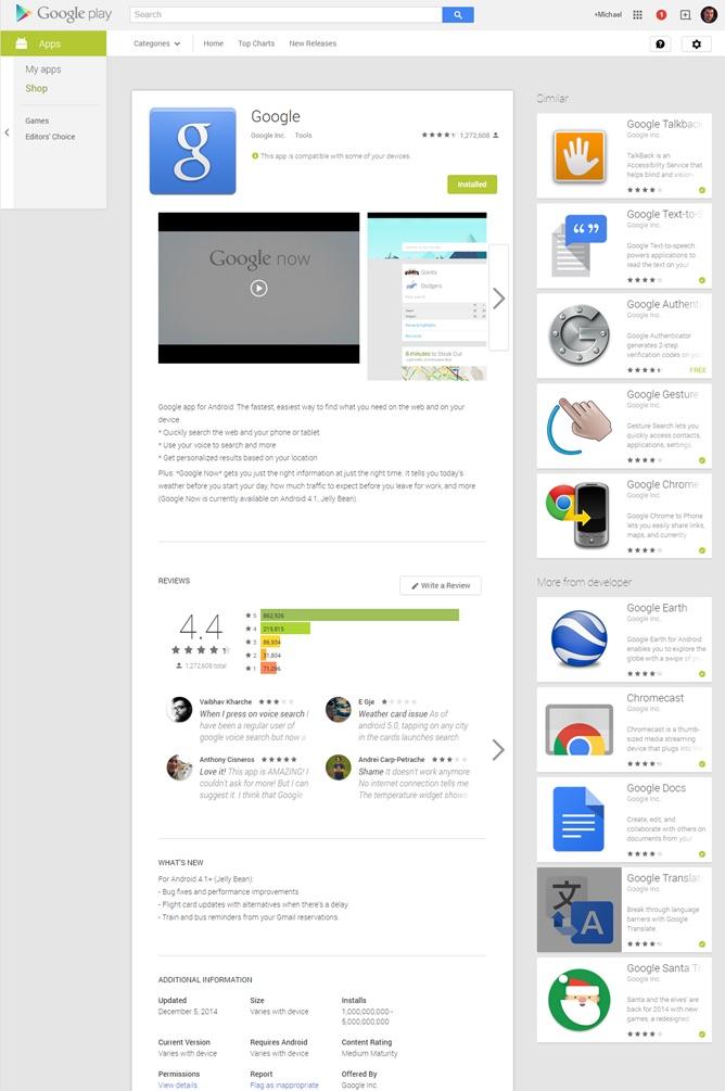 Nowy layout sklepu Google Play
