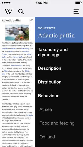 Wikipedia Mobile app screen