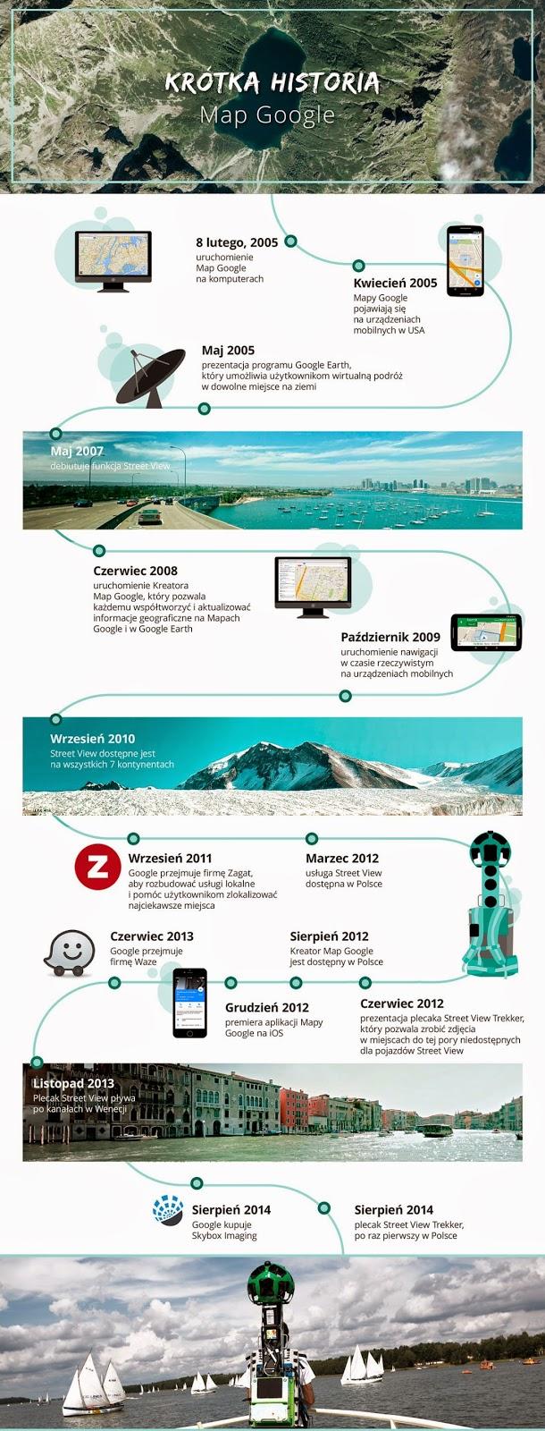 Infografika przedstawiająca 10 lat Map Google'a