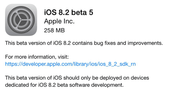 Apple wypuściło 5. betę iOS-a 8.2