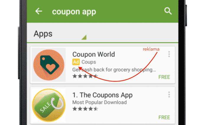 Reklama w wynikach wyszukiwania w sklepie Google Play