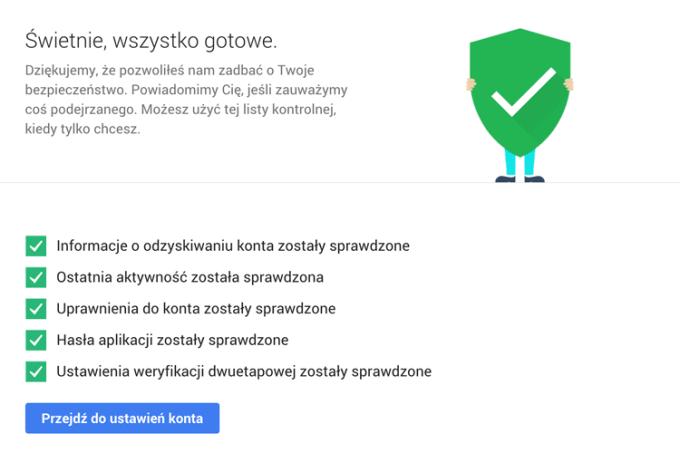 Test bezpieczeństwa konta Google