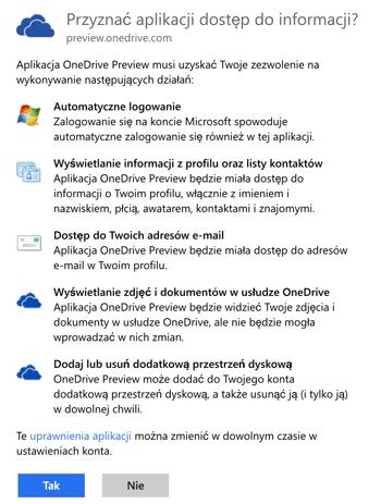 Uprawnienia dla usługi OneDrive na koncie Microsoft