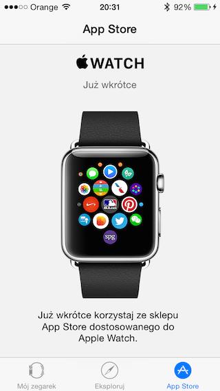 Aplikacja Apple Watch iOS 8.2