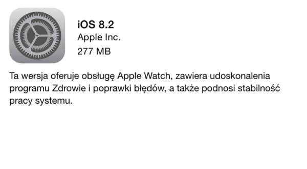 iOS 8.2 gotowy do pobrania!