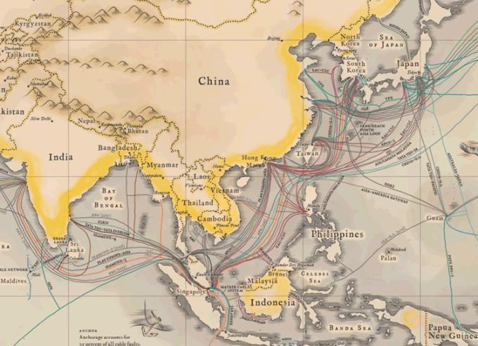 Podwodne kable internetowe  - Azja Południowo-Wschodnia