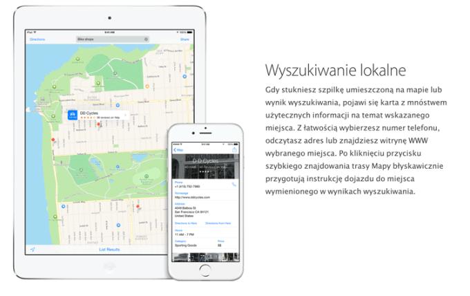 Mapy Apple - wyszukiwanie lokalne