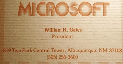 pierwsza wizytówka Billa Gatesa - Microsoft