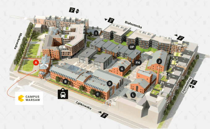 Centrum Praskie Koneser Campus Warsaw - mapa