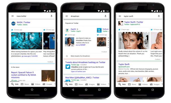 Wpisy z Twittera w mobilnych wynikach wyszukiwania Google