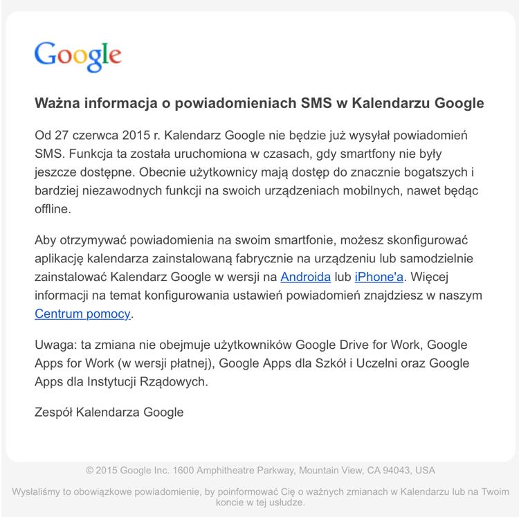 Ważna informacja o powiadomieniach SMS w Kalendarzu Google