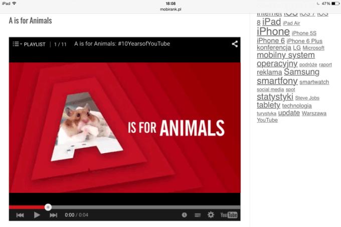 Zagnieżdzony odtwarzacz YouTube'a w przeglądarce na iPadzie