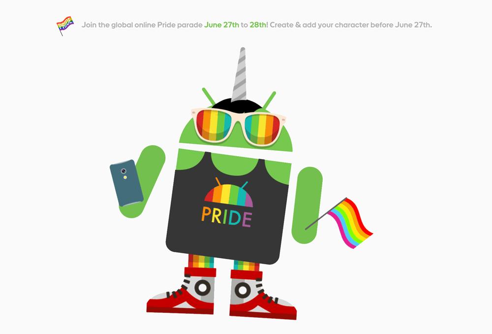 Zmieniony Androidify z okazji parady LGBT 28 czerwca