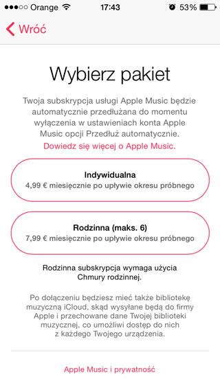 Screen z polskiej aplikacji Apple Music