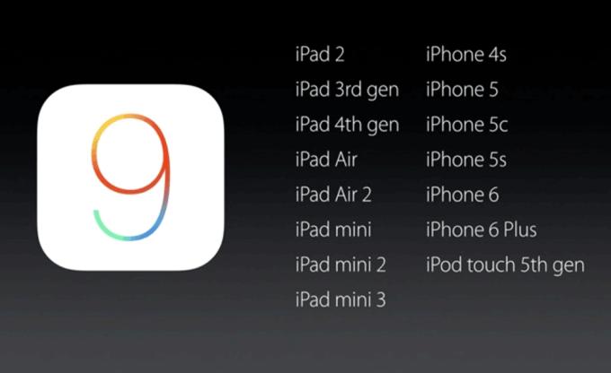 iOS 9 urządzenia
