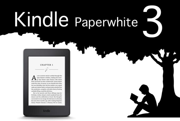 Czytnik e-booków Kindle Paperwhite 3 (na zdjęciu czytnik i nazwa e-czytnika)