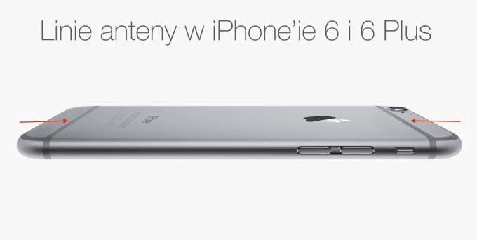 Linie anten na obudowie iPhone'a